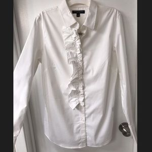 NWT Banana Republic White Ruffle Button Down Top